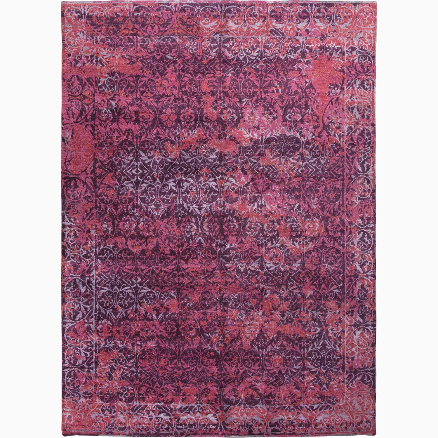 Handmade abstract pattern purple pink wool bamboo silk for Rugs with purple accents