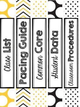 Teacher Binder Bee Themed Binder Spine Labels Spine Labels
