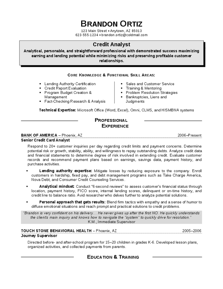 Credit Card Analyst Resume Sample Resumesdesign Career Change Resume Resume Sample Resume