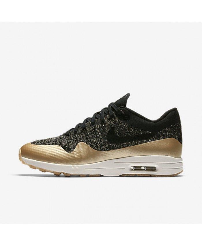 sale retailer 1ee43 caff5 Nike Air Max 1 Ultra 2.0 Flyknit Metallic Black Metallic Gold Star Flat  Opal Womens Sale