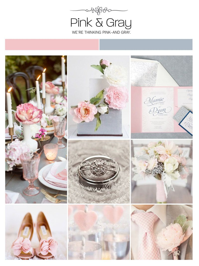 Pink and gray wedding inspiration board, color palette, mood board ...