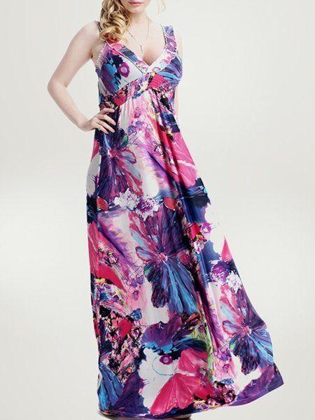Fashion Printed Alluring V Neck Plus Size Maxi Dress #ClothingOnline #PlusSizeWomensClothing #CheapClothing #FashionClothing #womenswear #sexydress #womensdress #womenfashioncasual #womensfashionforwork  #fashion #womensfashionwinter