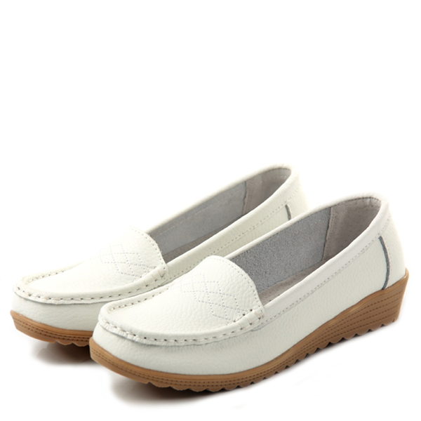 1675587748e81 White Leather Nursing Shoes | Classic Leather Loafer Shoes Women ...