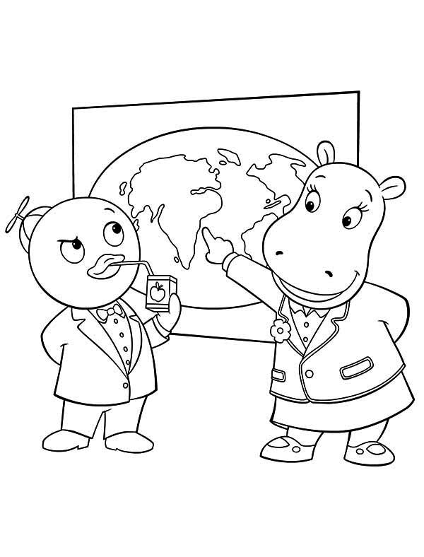 Tasha Show Pablo World Map In The Backyardigans Coloring Page Kids Play Color In 2020 Coloring Pages Online Coloring World Map