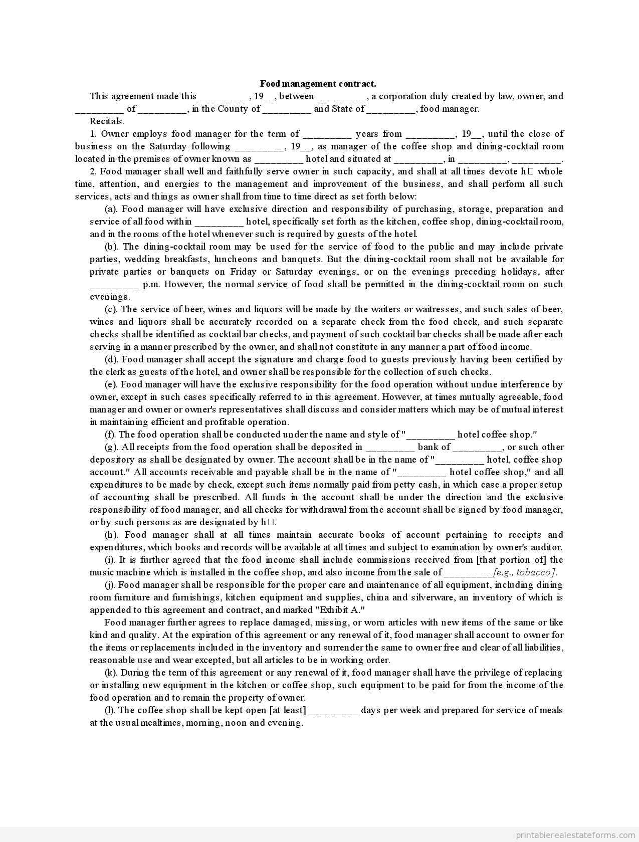 Printable Sample Food Management Contract Form  Generic Legal