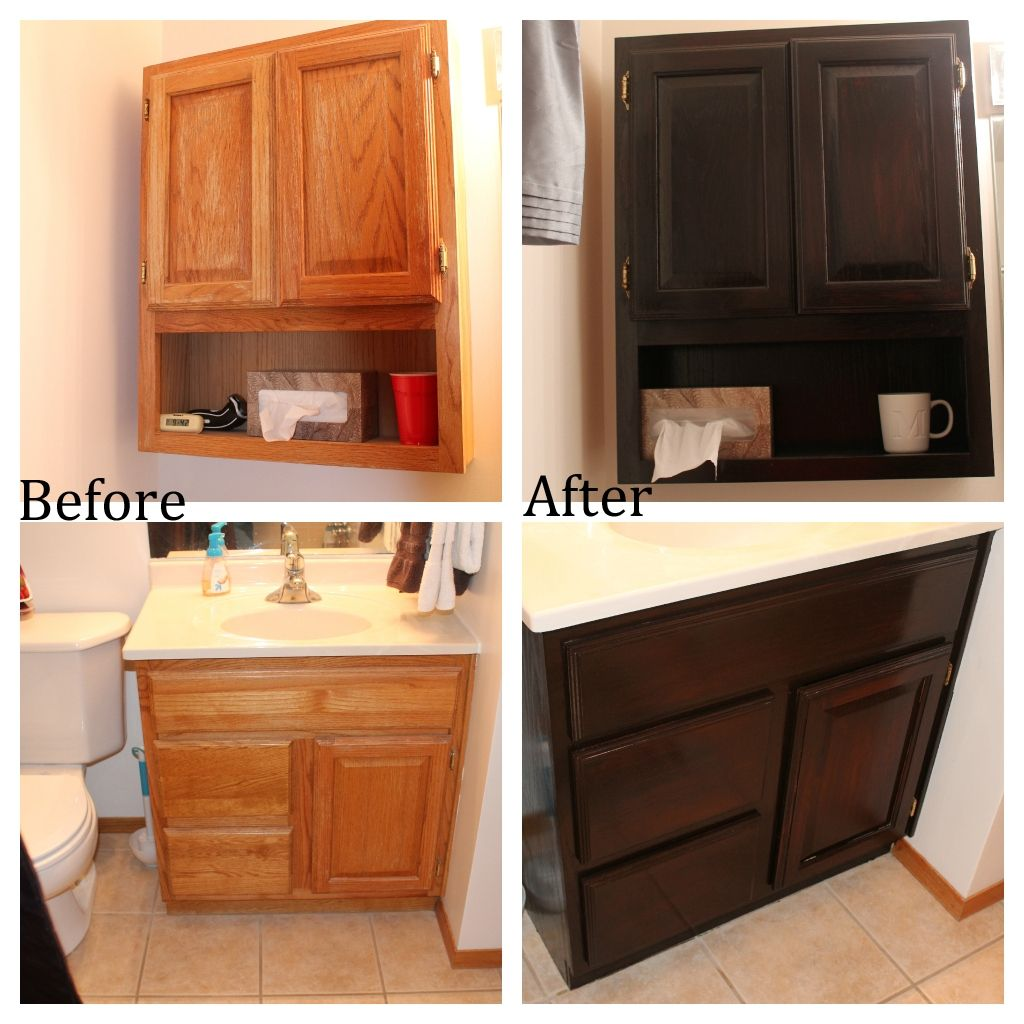 staining bathroom cabinets before and after