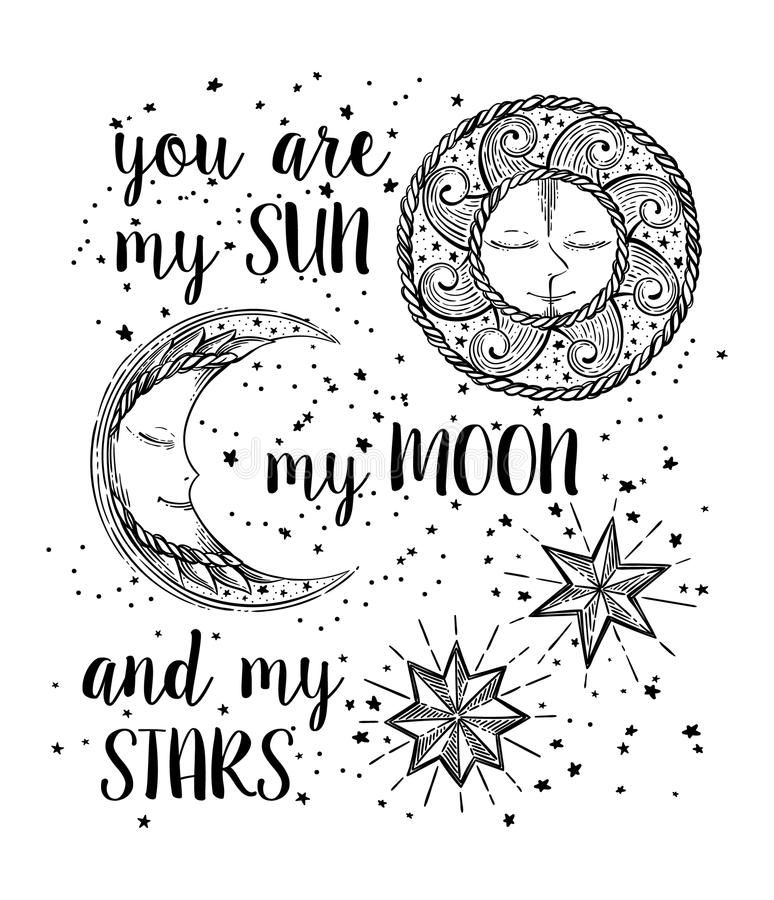 Sun, Moon and Stars royalty free illustration in 2020