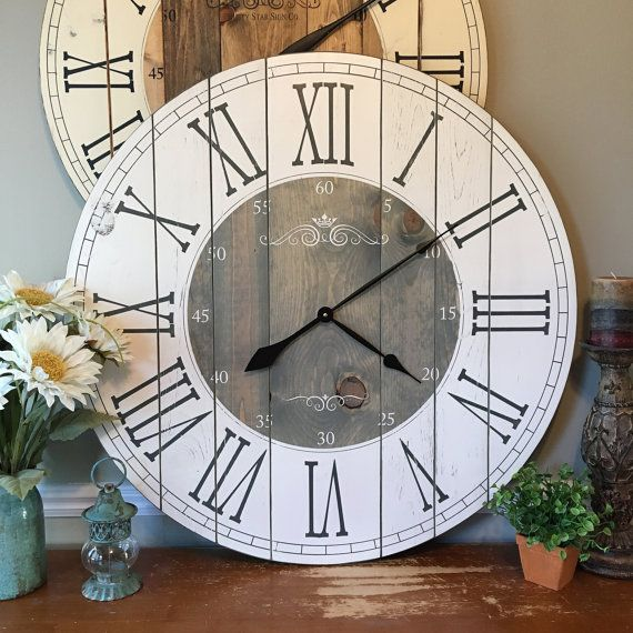 32 Inch Wooden Farmhouse Clock Roman Numeral Rustic Wall Clock Large Wall Clock Personalized Clock Distressed Clock Brianna Rustic Wall Clocks Farmhouse Clocks Diy Clock Wall