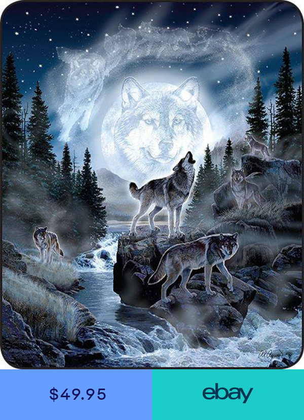 """New 79/""""x96/"""" Queen Size Wolf Pack Wolves And Moon Mink Blanket Super Plush Fleece"""