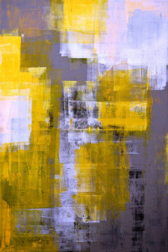 Large Acrylic Abstract Art Painting Yellow Black White And