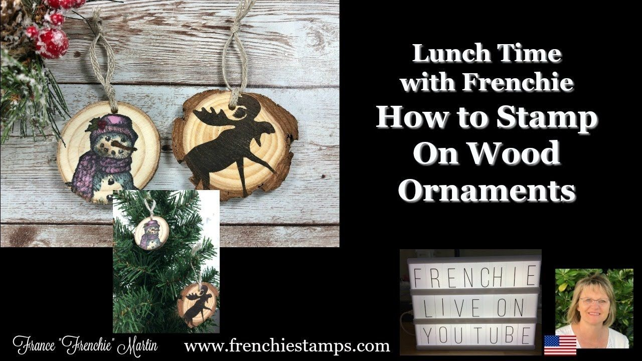 How To Stamp On Wood Ornaments Youtube Wood Ornaments Hand Stamped Cards Gift Card Holder