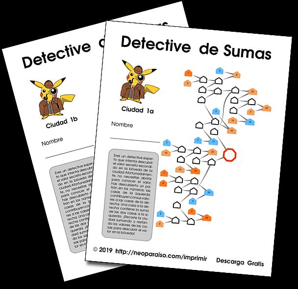 Juegos Matemáticos De Detective Pikachu Acertijo De Sumas Y Restas Para Imprimir Juego Juegos Matematicos De Fracciones Juegos De Matemáticas Juegos De Resta
