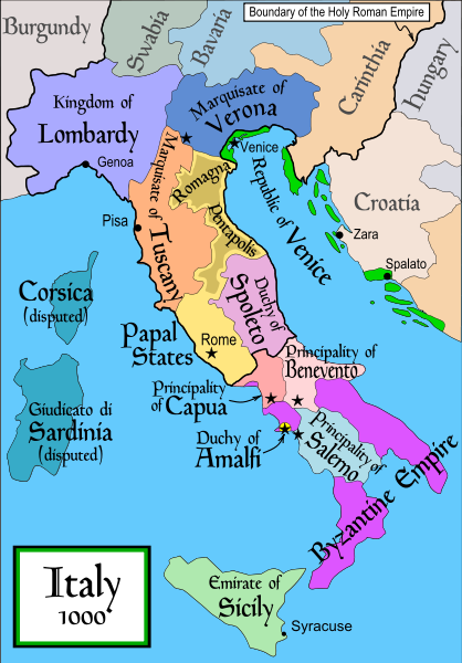 Holy Roman Empire Map 1000.Italy Around 1000 Shortly After Otto I S Reign Otto I S Expansion