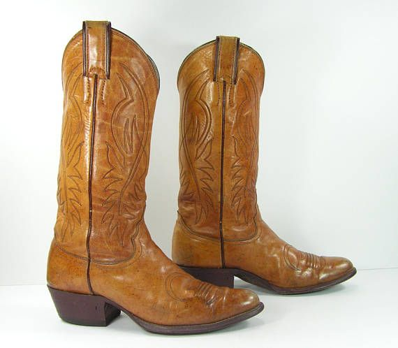 47e6505d9ffc vintage justin cowboy boots women s 7 M B brown leather cowgirl usa ...