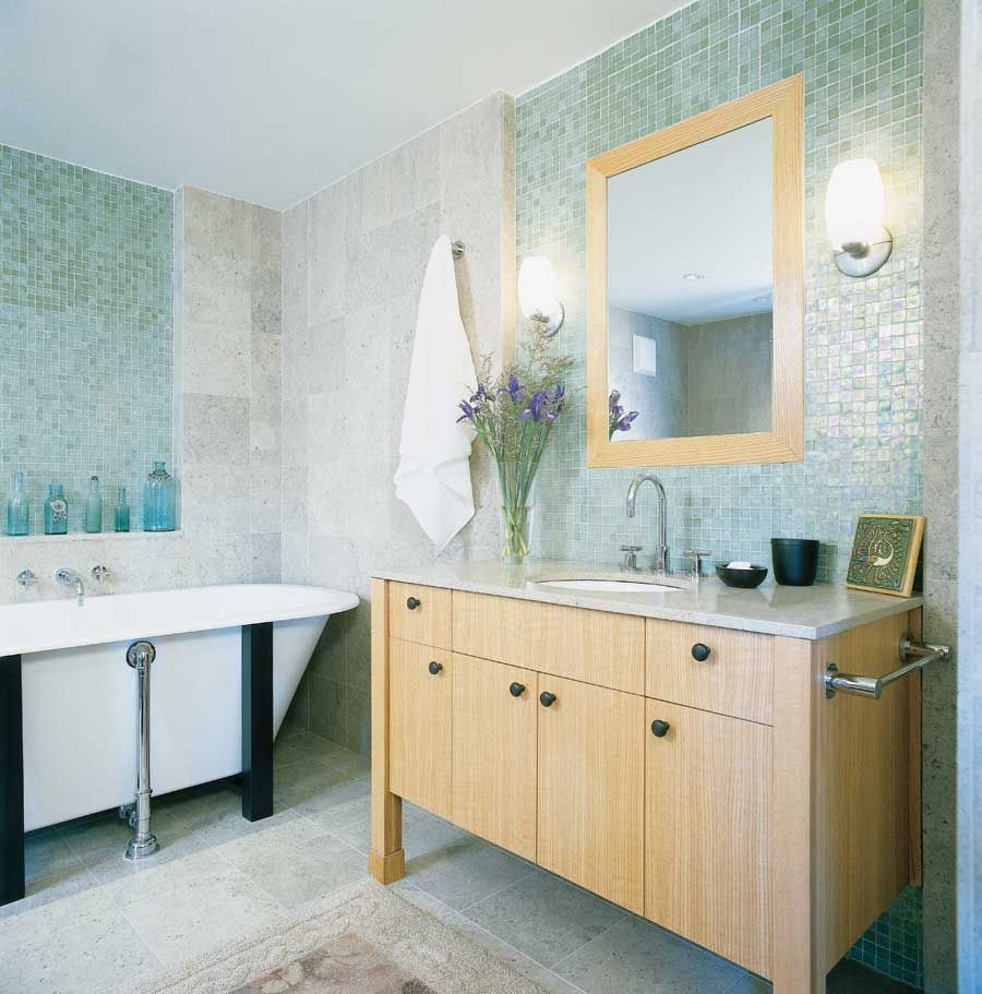 Love this colour scheme. White and blue tile/stone with oak. Mix of ...