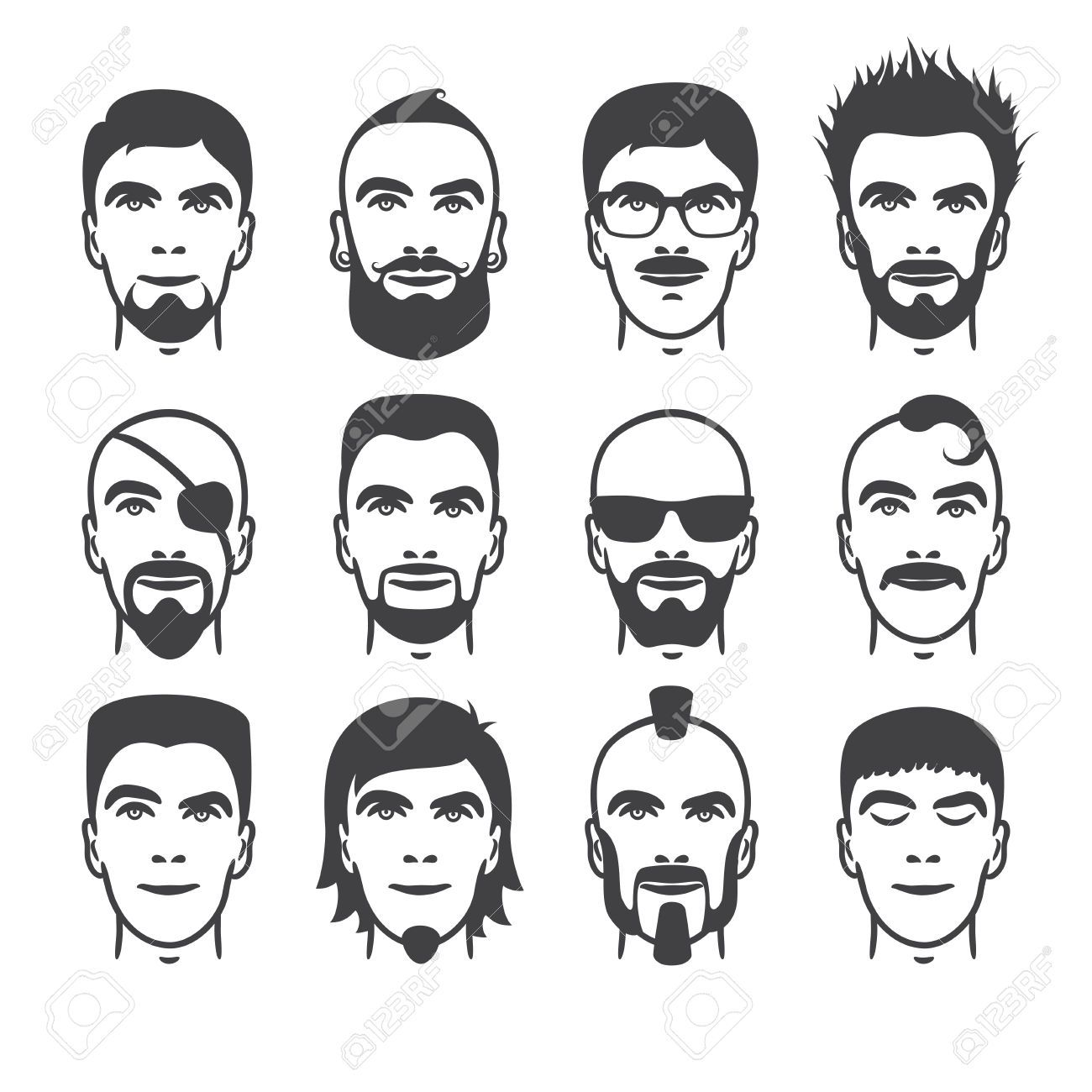 Comic Drawing Man Beard Face Google Search Cartoon Face - Different hair style drawing