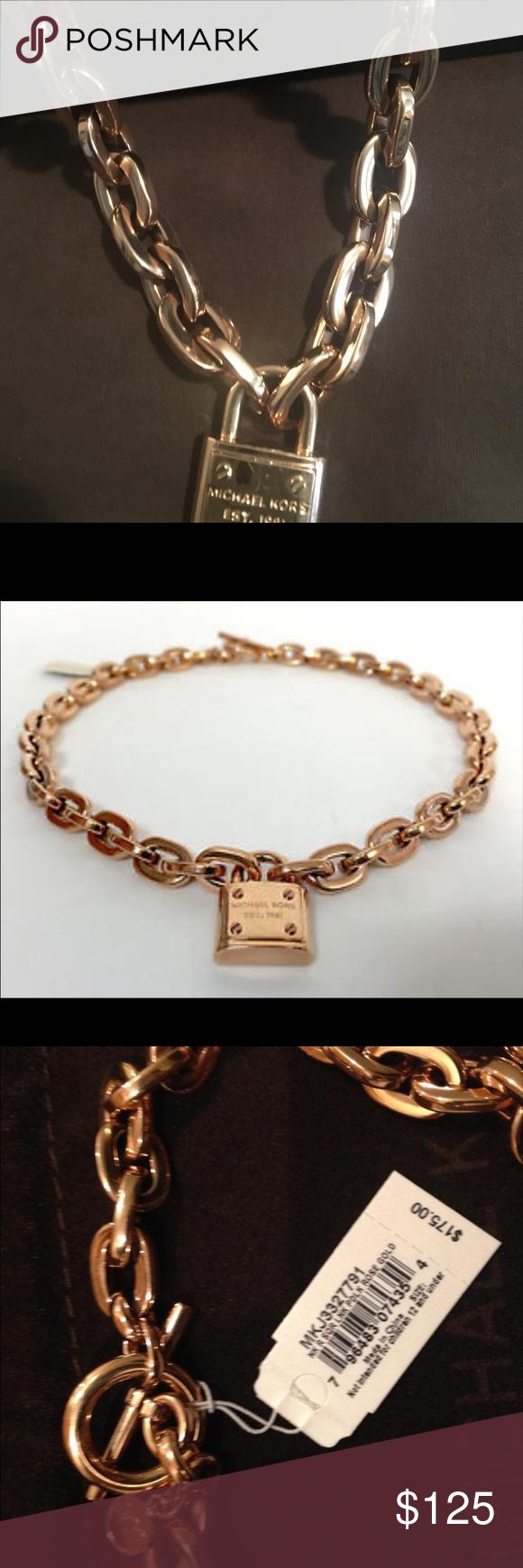 e4b4a598060f Beautiful MK ROSE GOLD NECKLACE❤ ❤ ❤ MKJ3327791 ROSE GOLD PADLOCK NECKLACE