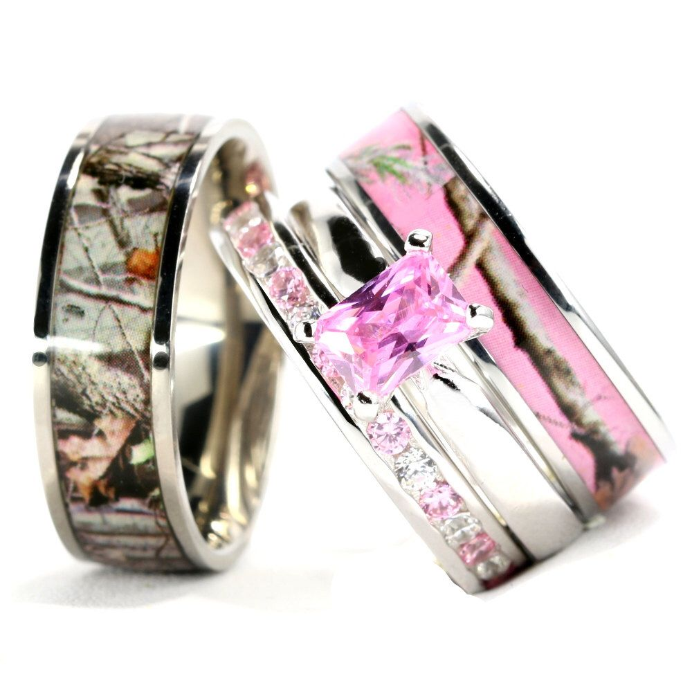 4 Piece His And Her Camo Wedding Ring Set Stainless Steel Etsy Camo Engagement Rings Camo Wedding Rings Sets Camo Wedding Rings