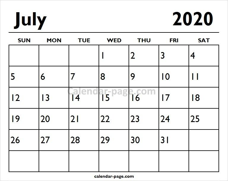 July Calendar For 2020.2020 July Printable Calendar Page Calendar Design Printable
