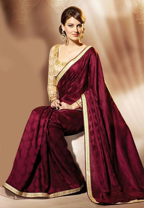 1a211e1bd3a55 Image result for maroon saree with silver border | marriage | Maroon ...