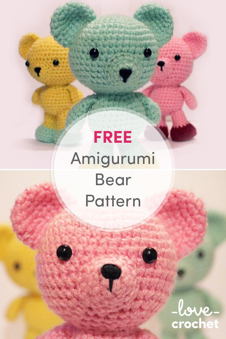 FREE Amigurumi Bear Pattern! Make these colorful bears for yourself ...