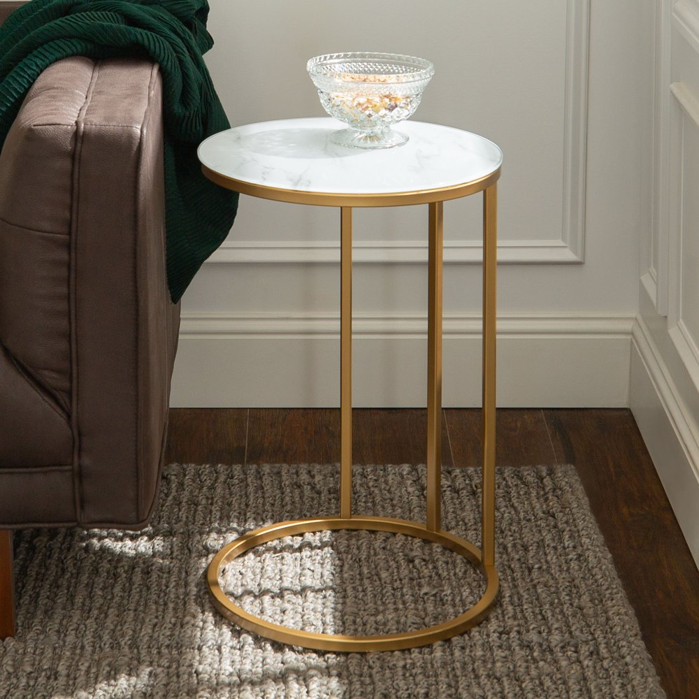 Modern Round End Table White Marble Top Gold Base Living Room Accent Tables Round Side Table Living Room Living Room Side Table #round #side #table #for #living #room