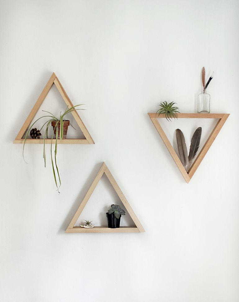 Diy wooden triangle shelves triangle shelf triangles and shelves - Triangular bookshelf ...