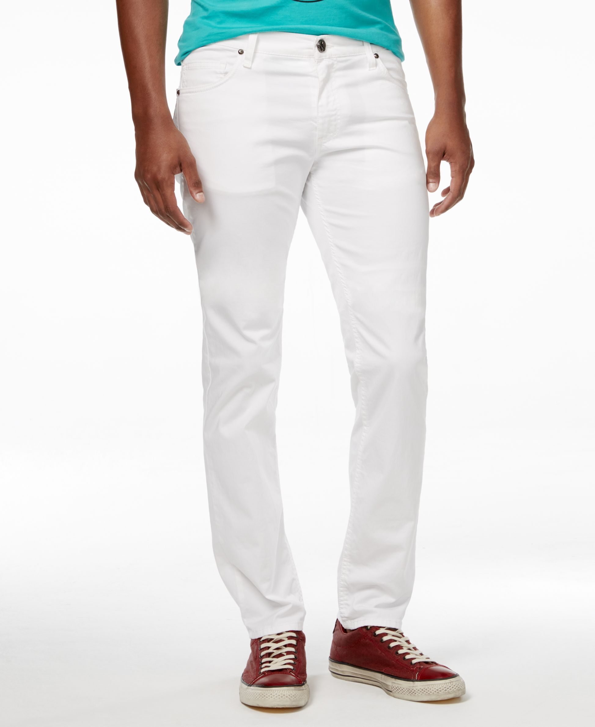 8750c84e25 Versace Men's Slim Fit White Denim Pants | Men's White Pants | Denim ...