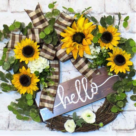 Photo of Sunflower wreath, hello wreath, spring wreath, summer wreath, sunflower decor, peasant wreath, cou