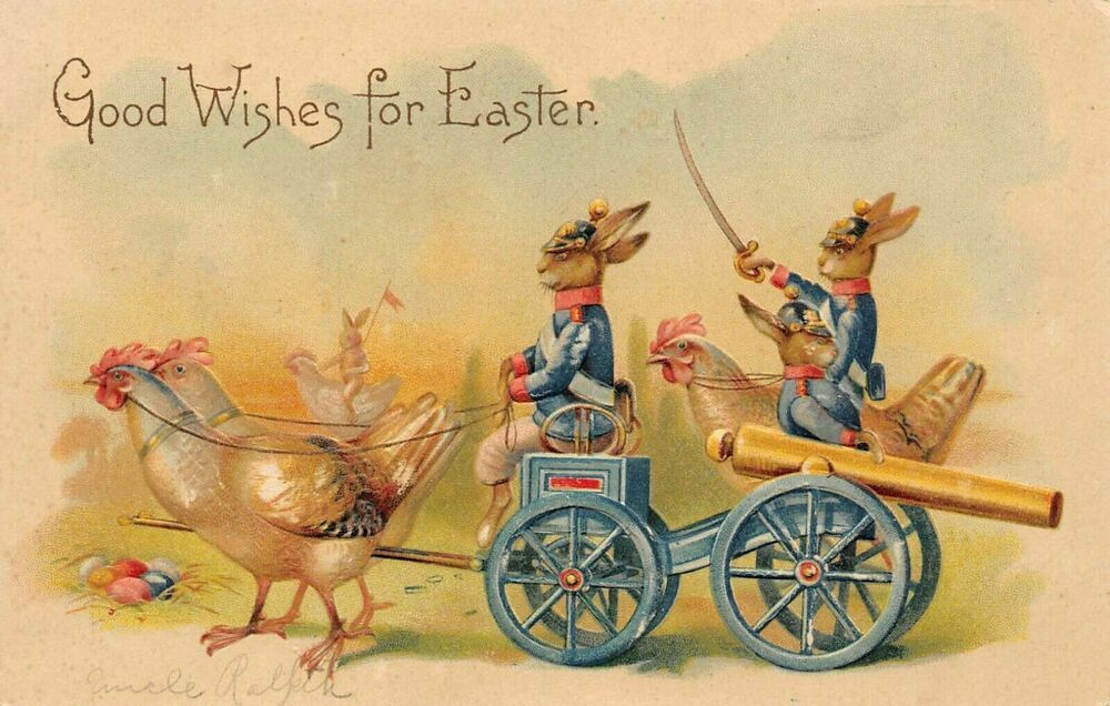 Dressed rabbits in military uniformswith cannonantique