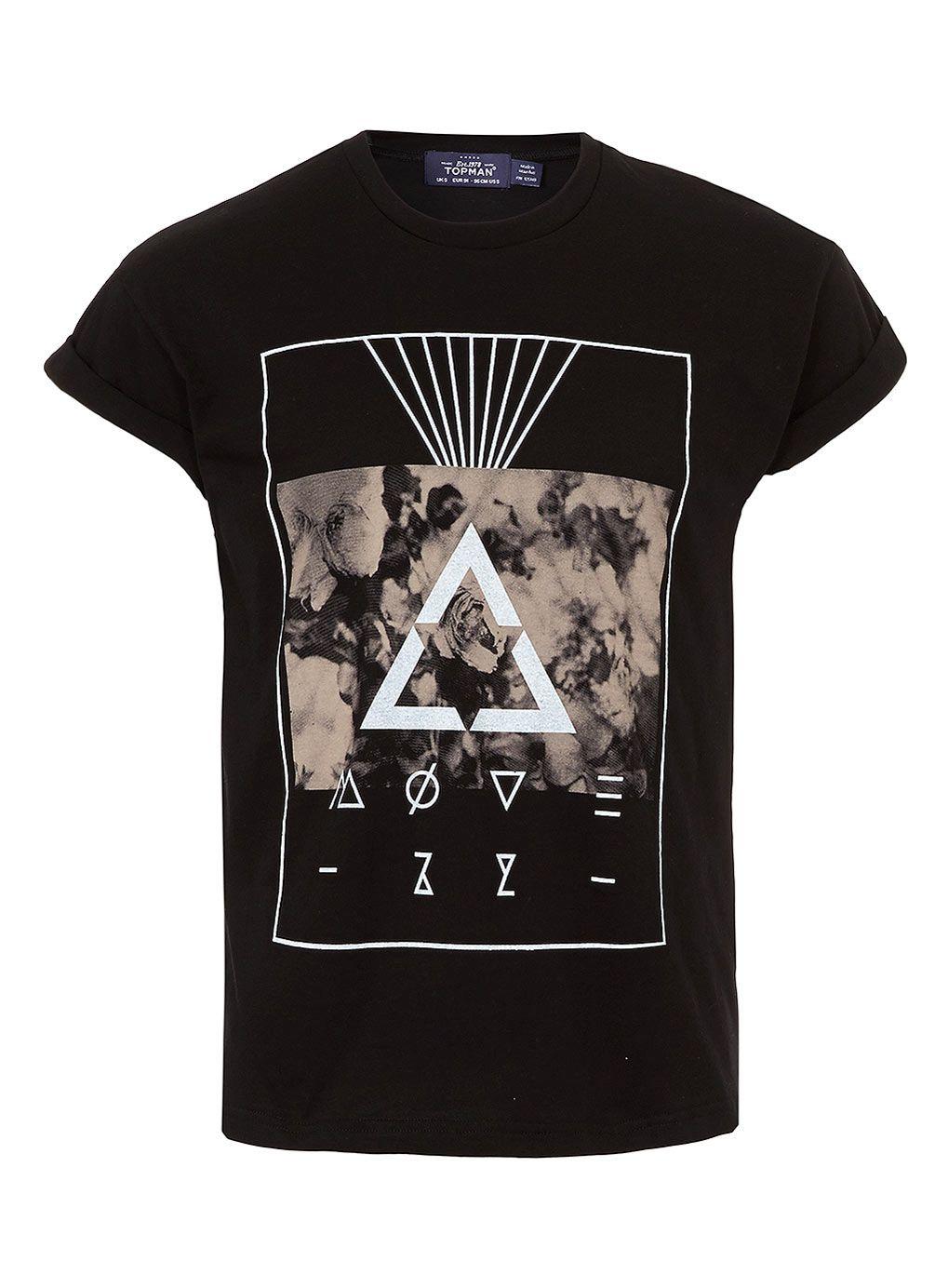 BLACK SMOKE PRINT HIGH ROLL T-SHIRT - Mens T-shirts & Tank Tops