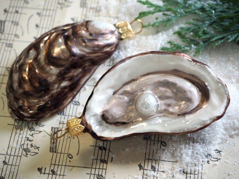 2 austern perle muscheln glas kugel christbaumschmuck