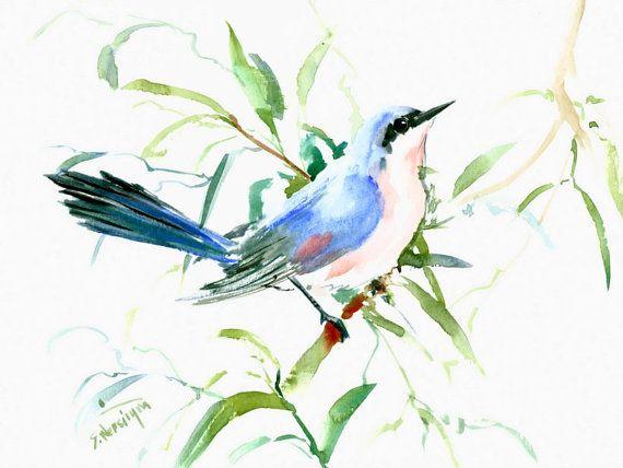 Bleu Tropical Mockingbird, 12 X 9 en peinture aquarelle originale