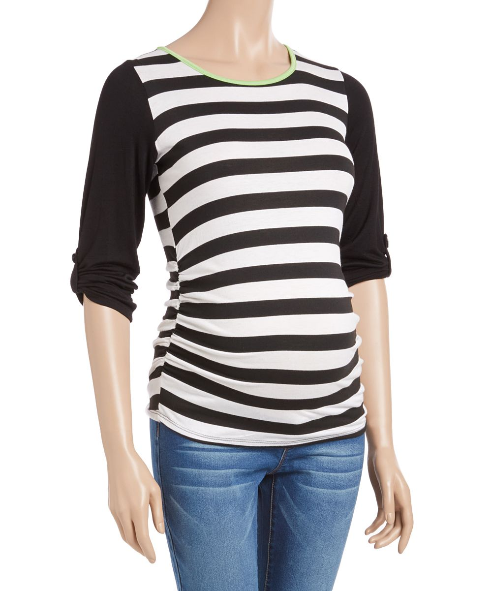 Black & White Stripe Color Block Maternity Top | Products