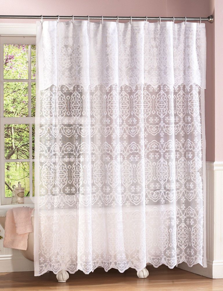 White Lace Shower Curtain W Attached Valance Liner IN HAND Fabric Scalloped Victorian