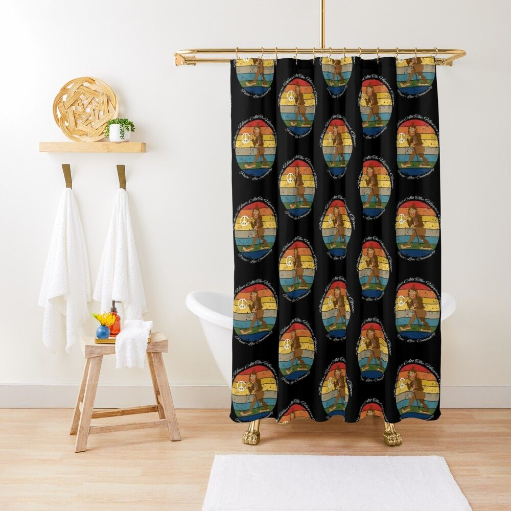 Bigfoot With Peace Sign Where Have All The Hippies Gone 1969 Peace Love Community Shower Curtain By Michael Turner Peace And Love Iphone Case Covers Peace Sign