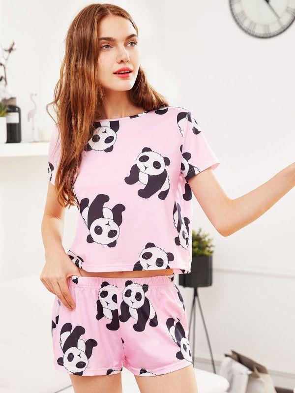 afc48df2301d T-shirt pigiama con stampa di panda