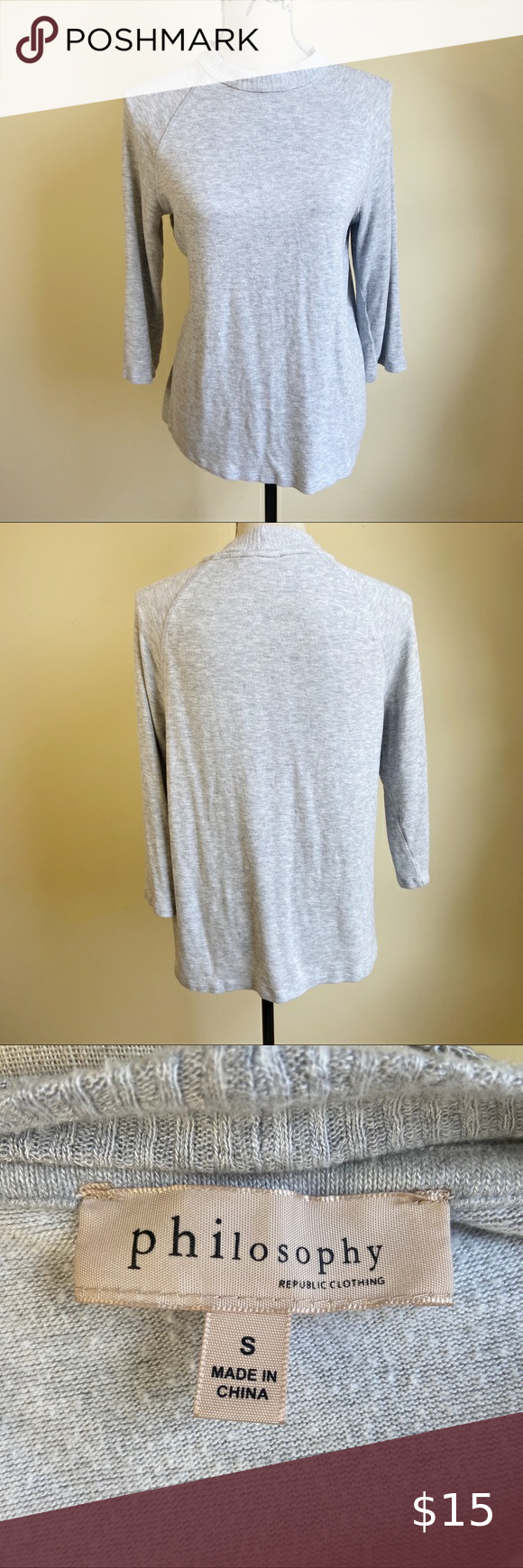 Philosophy Grey Soft Sweater Top Softest Sweater Sweater Top Sweaters