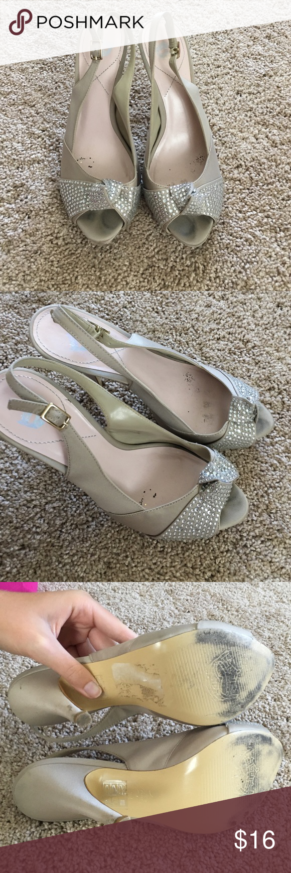 "Nude sparkly heels homecoming Open toed with adjustable back strap. Great for school dances! 4 1/2"" heel Shoes Heels"