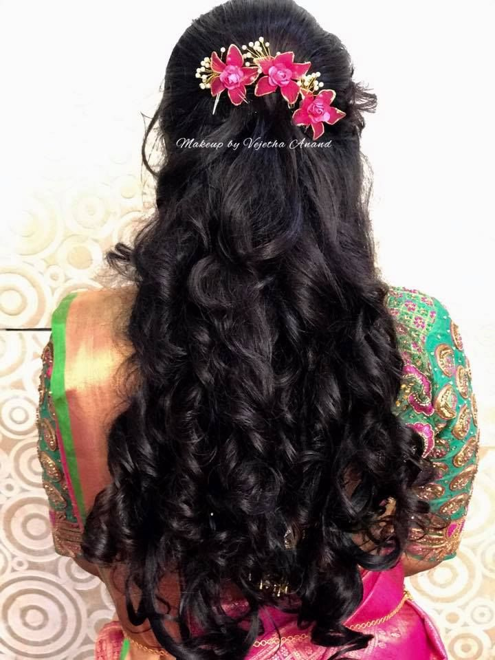 Gorgeous Bridal Hairstyle With Curls Hairstyle By Vejetha For Swank Indian Bridal Hairstyle Bridal Hai Hair Styles Indian Bridal Hairstyles Long Hair Styles