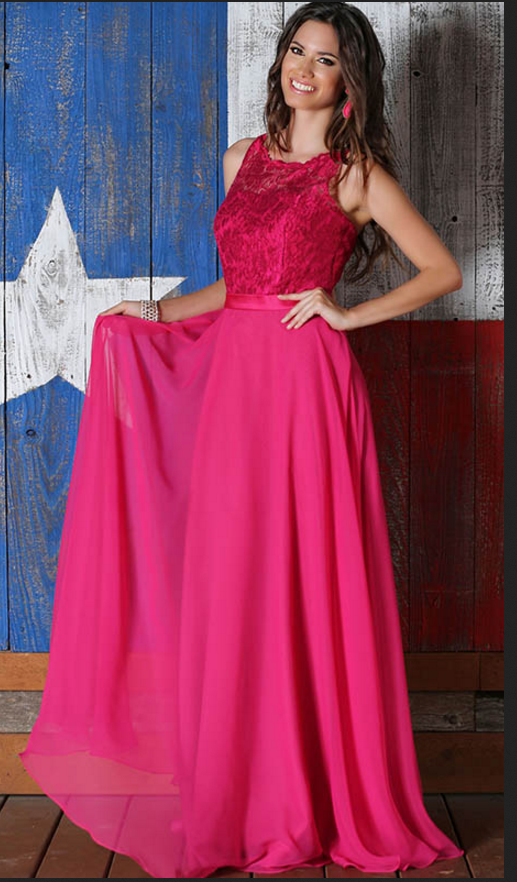 Rose Red Chiffon Bridesmaids Dresses Long Lace #prom #promdress ...