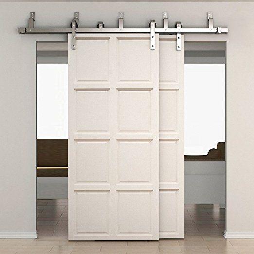 Smartstandard 6 6ft Bypass Double Door Sliding Barn Door Hardware Stainless Steel J S Double Sliding Barn Doors Bypass Barn Door Interior Sliding Barn Doors