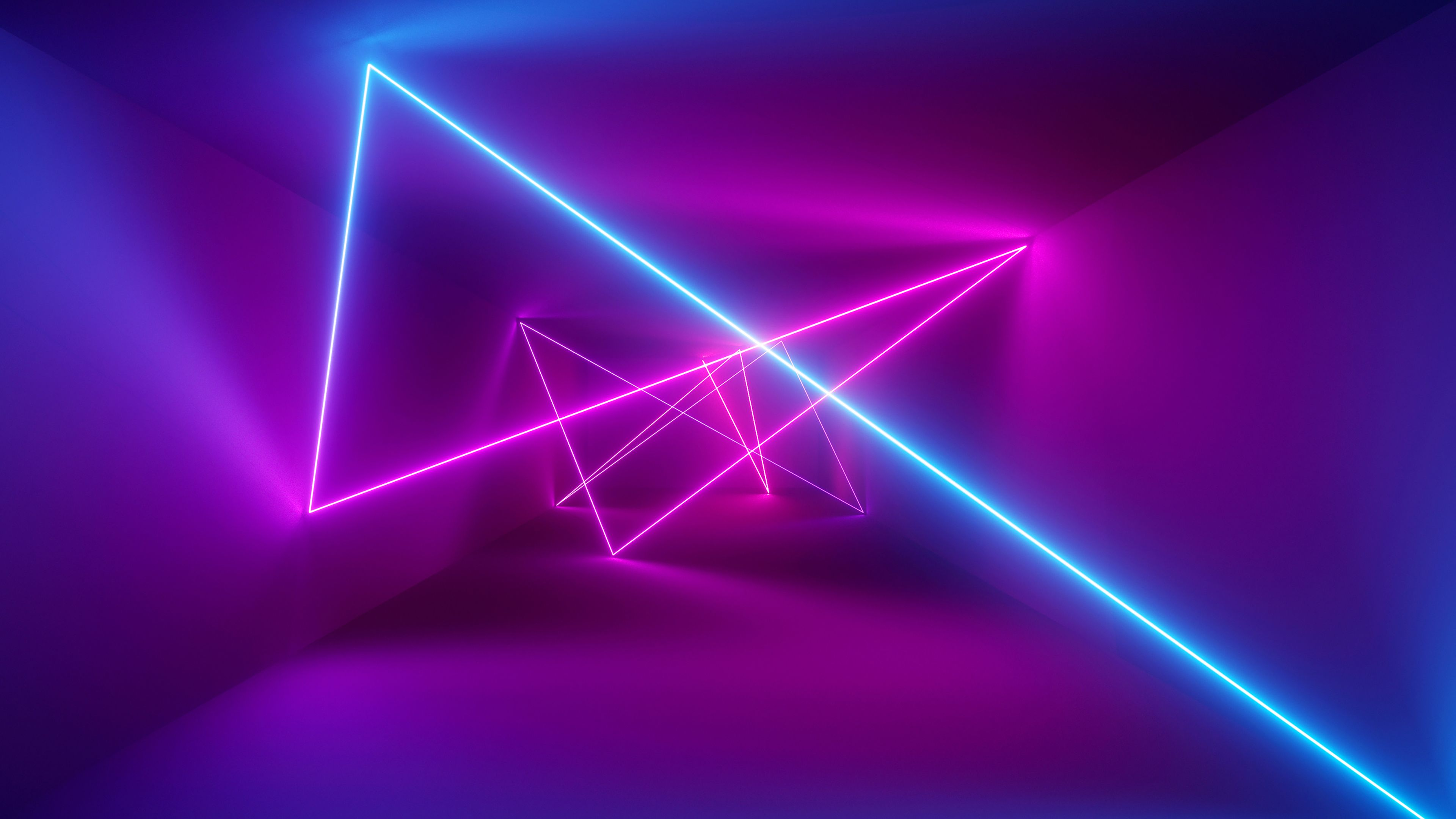 Blue And Pink Laser Beams 3840x2160 Neon Papeis De Parede Computador Layout De Cartaz