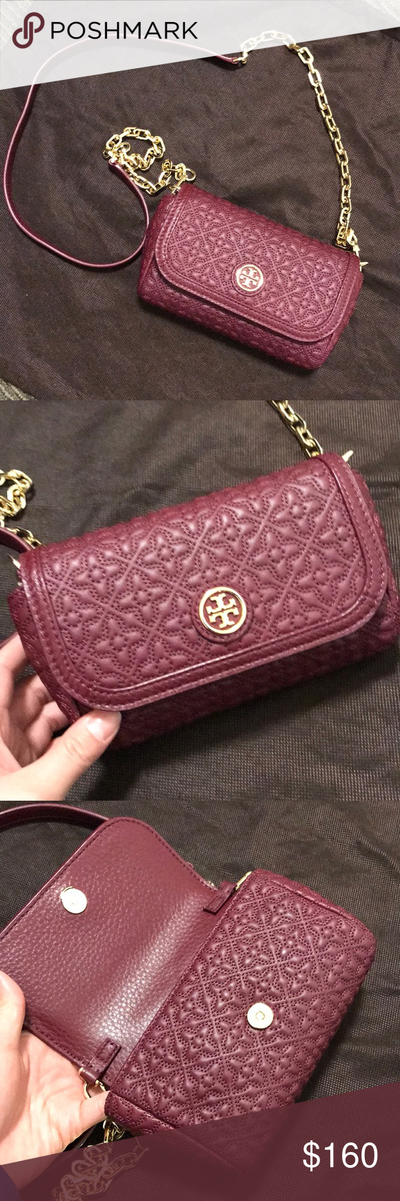 b2cbf980063c Authentic Tory Burch Bryant Quilted Mini Crossbody Tory Burch quilted  leather crossbody with gold toned hardware