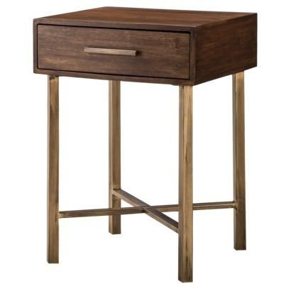 threshold wood and brass square accent table i target house table furniture bedroom
