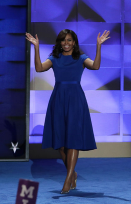 First Lady Michelle Obama in a blue Christian Siriano dress at the Democratic National Convention in Philadelphia.
