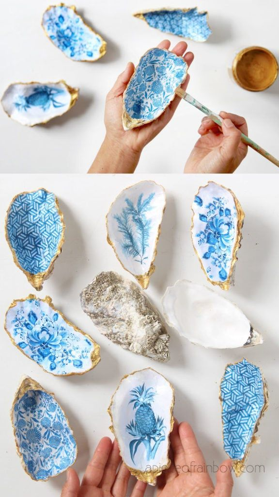Beautiful DIY Anthropologie style oyster shell trinket dish, catch all tray, jewelry dish & ring holder. Great handmade gift, unique home decor & crafts! – A Piece of Rainbow #gift #anthropologie #boho #bohemian #crafts #art #decoupage #papercraft #indigo #ceramics #farmhousestyle #farmhousedecor #painting #delft #shabbychic #vintage #beach #livingroom #diy #homedecor DIY home decor ideas, #diyhomedecor #farmhouse #farmhousestyle Vintage, shabby chic