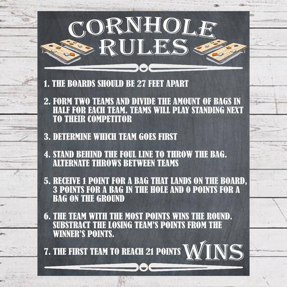 Father's Day Gift for Dad, Yard Games, Cornhole Sign Poster, Cornhole Rules, Outdoor Party Games, Wedding Lawn Games, Backyard Games