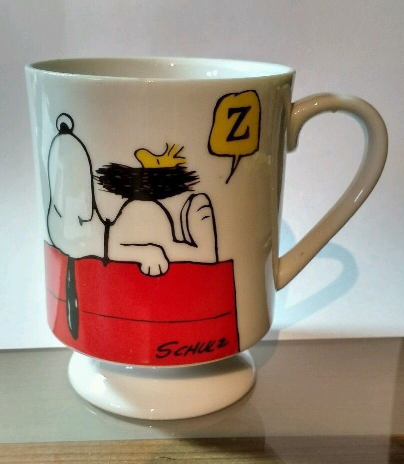 """Vintage Peanuts Snoopy & Woodstock """"This Has Been a Good Day!"""" Pedestal Mug 8 oz #Pedestal 10% of the sale of this item will benefit St. Tammany Animal Resource Team Sold $12.98"""