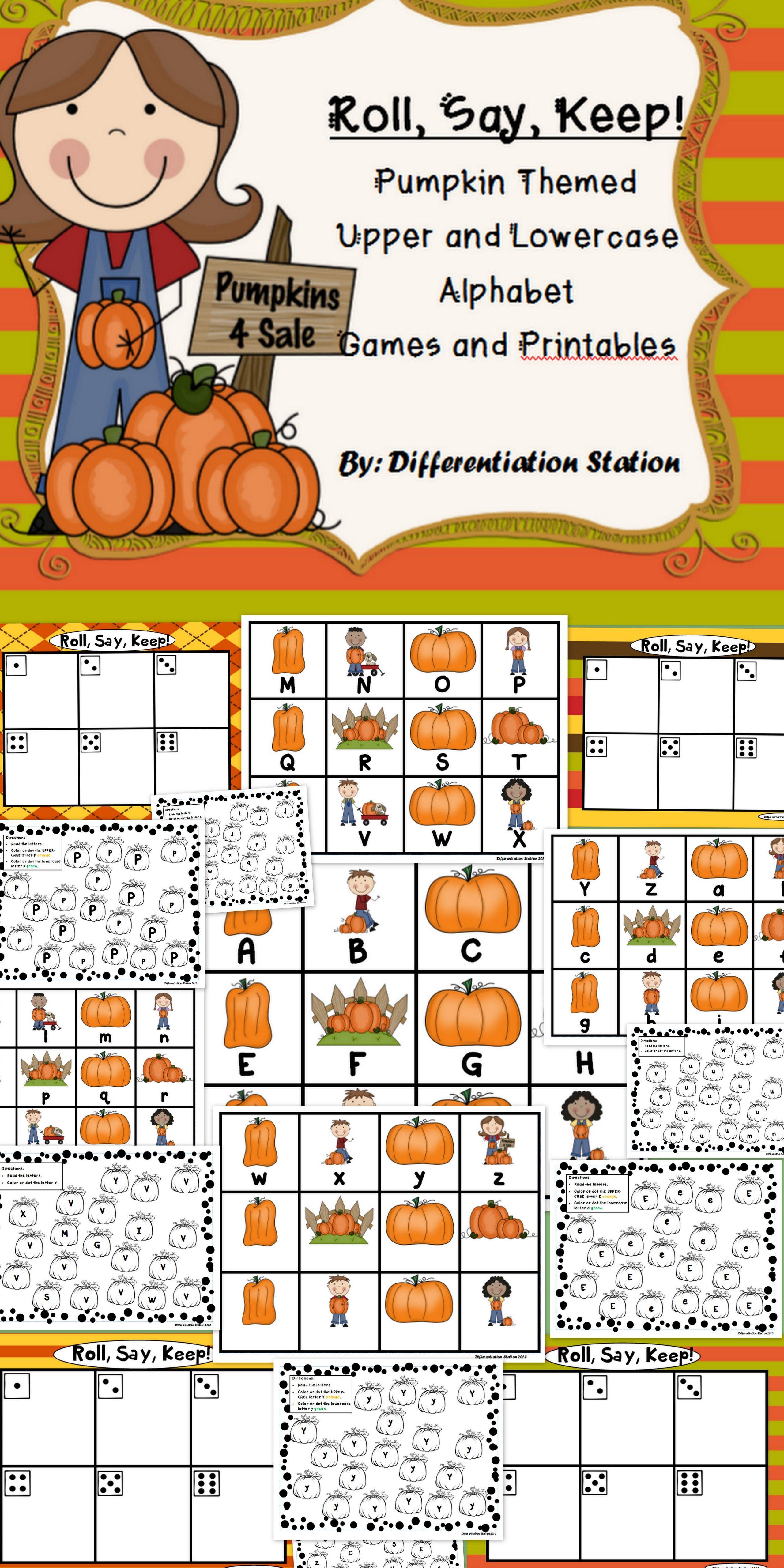 Pumpkin Fall Themed Roll Say Keep Alphabet Center